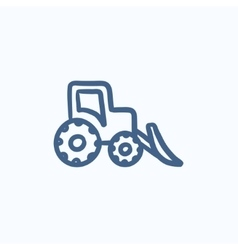 Bulldozer sketch icon vector