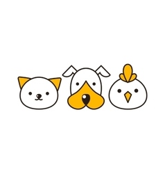 Cat dog and bird vector