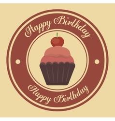 Happy birthday cupcake isolated icon design vector