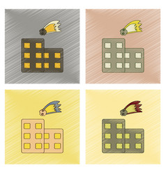 Assembly flat shading style icon meteorite falling vector