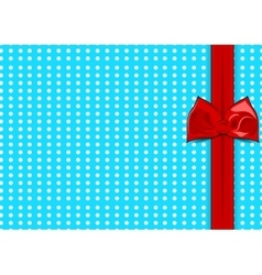 Blue background with white dots red cute bow vector