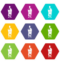 buddhist monk icon set color hexahedron vector image vector image