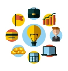 Bulb light and money icons vector