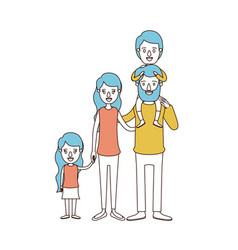 Caricature color sections and blue hair of big vector