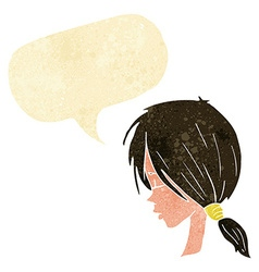 cartoon girl looking thoughtful with speech bubble vector image vector image