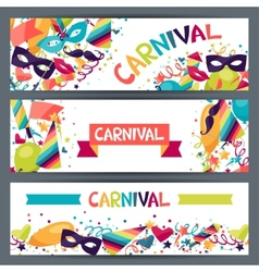 Celebration horizontal banners with carnival icons vector image vector image