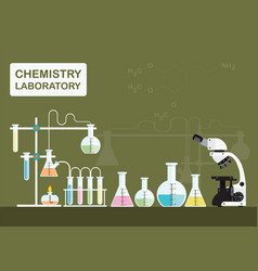 Chemical laboratory science with microscope vector