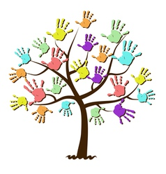 Childrens hand prints united in tree vector image