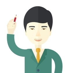 Chinese man holding a pen vector