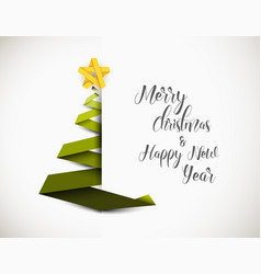 christmas tree made from green paper stripe vector image
