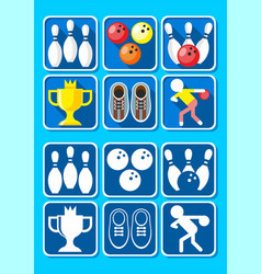 colorful bowling icons set vector image vector image