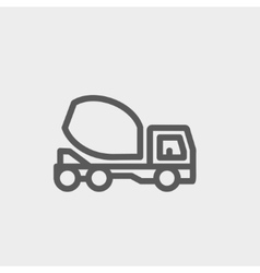 Concrete mixer truck thin line icon vector