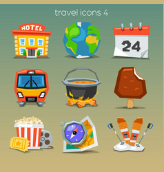 funny travel icons-set 4 vector image vector image