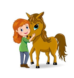 Girl and horse vector