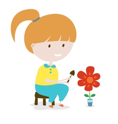 Girl grows the flower eps10 vector