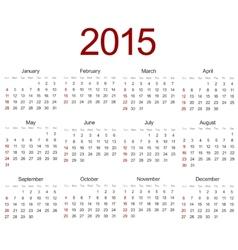 Modern 2015 calendar on white vector