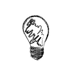 Monochrome sketch of lightbulb dirty vector