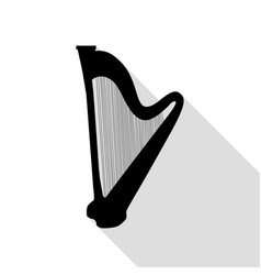 musical instrument harp sign black icon with flat vector image vector image