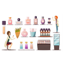Perfume shop icon set vector