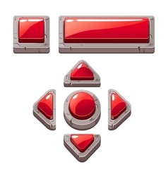 Red cartoon stone buttons for game or web design vector