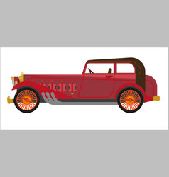Red colored vintage car vector