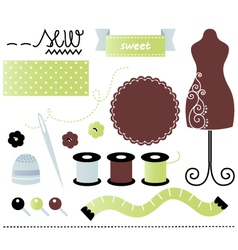 Sewing and tailor set isolated on white vector image vector image