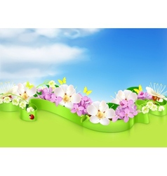 Spring flowers and clouds background vector