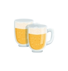 Two pints of foamy lager beer oktoberfest vector