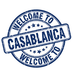 Welcome to casablanca blue round vintage stamp vector