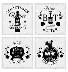 Wine quotes typographic monochrome emblems vector