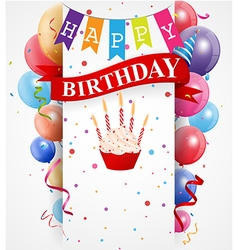 Birthday card with colorful balloons and confetti vector