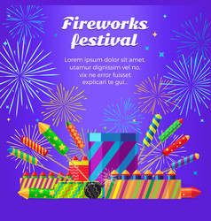 Organization of fireworks festival pyrotechnic vector