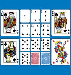 Clubs suite playing cards french style vector