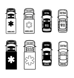 Ambulance and police cars icons on white vector