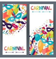 Celebration vertical banners with carnival icons vector