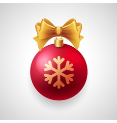 Merry christmas card with red bauble and gold vector