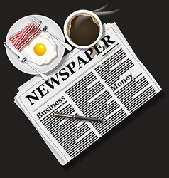 Newspaper with coffee and fried egg and bacon vector