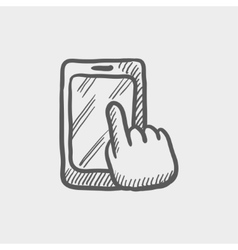 Mobile phone sketch icon vector