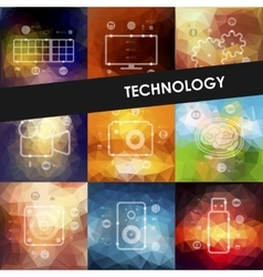 Technology timeline infographics with blurred vector
