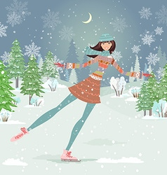 Cute girl skating in winter forest vector