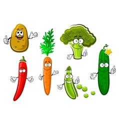 Cartoon fresh organic vegetable characters vector