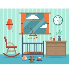 Child room for the newborn baby flat vector