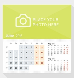 June 2016 desk calendar for 2016 year week starts vector