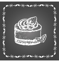 Chalk dessert with strawberry and mint leaves vector