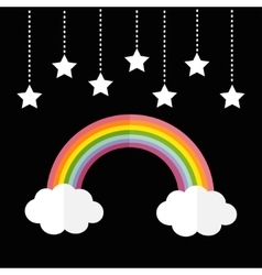 Rainbow and two white clouds stars hanging on vector