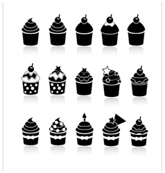 black and white cupcakes icons vector image