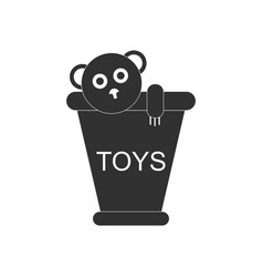Black icon on white background teddy bear in vector