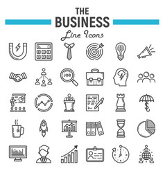 business line icon set finance symbols collection vector image vector image