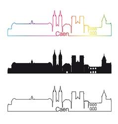 Caen skyline linear style with rainbow vector image vector image
