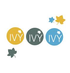 Cafe retail restaurant round logo ivy vector